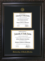 Image of University of South Florida Diploma Frame - Vintage Black Scoop - w/Embossed USF Seal & Name - Double Diploma for 8.5x11 & 11x14 diplomas - Black on Gold mats