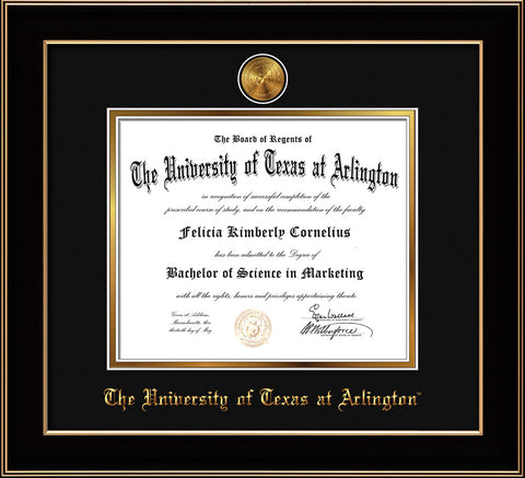 Image of University of Texas - Arlington Diploma Frame - Black Lacquer - w/24k Gold-Plated Medallion UTA Name Embossing - Black on Gold mats