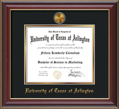 Image of University of Texas - Arlington Diploma Frame - Cherry Lacquer - w/24k Gold-Plated Medallion UTA Name Embossing - Black on Gold mats