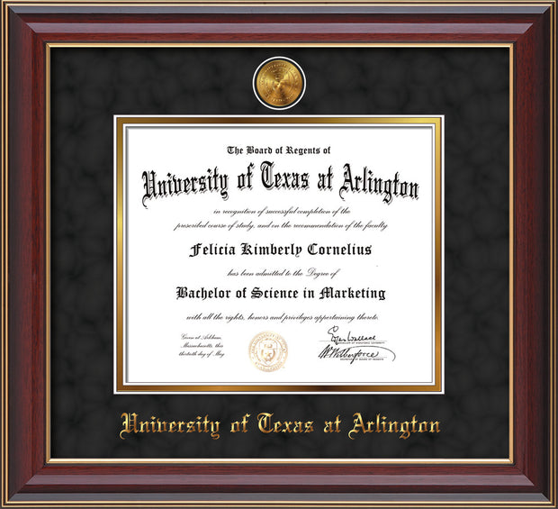 Image of University of Texas - Arlington Diploma Frame - Cherry Lacquer - w/24k Gold-Plated Medallion UTA Name Embossing - Black Suede on Gold mats