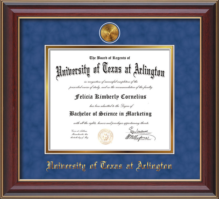 Image of University of Texas - Arlington Diploma Frame - Cherry Lacquer - w/24k Gold-Plated Medallion UTA Name Embossing - Royal Blue Suede on Gold mats