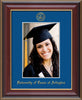 Image of University of Texas - Arlington 5 x 7 Photo Frame - Cherry Lacquer - w/Official Embossing of UTA Seal & Name - Single Royal Blue mat