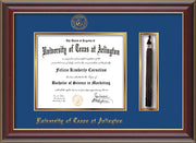 Image of University of Texas - Arlington Diploma Frame - Cherry Lacquer - w/Embossed Seal & Name - Tassel Holder - Royal Blue on Gold mat