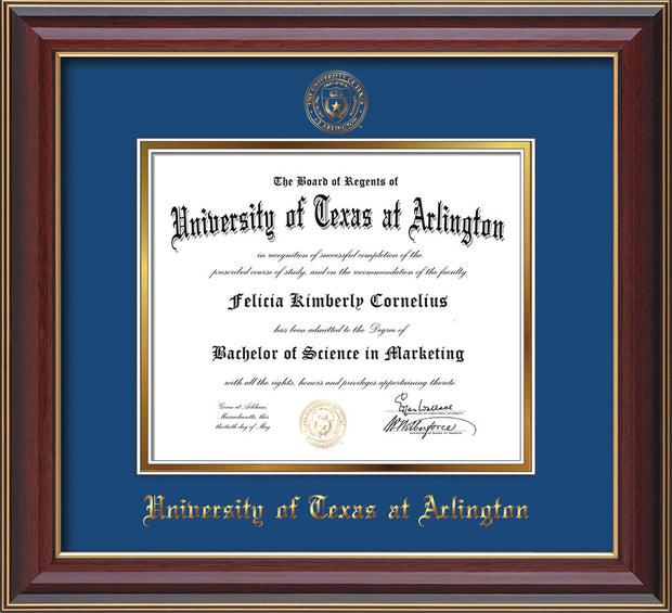 Image of University of Texas - Arlington Diploma Frame - Cherry Lacquer - w/Embossed Seal & Name - Royal Blue on Gold mat