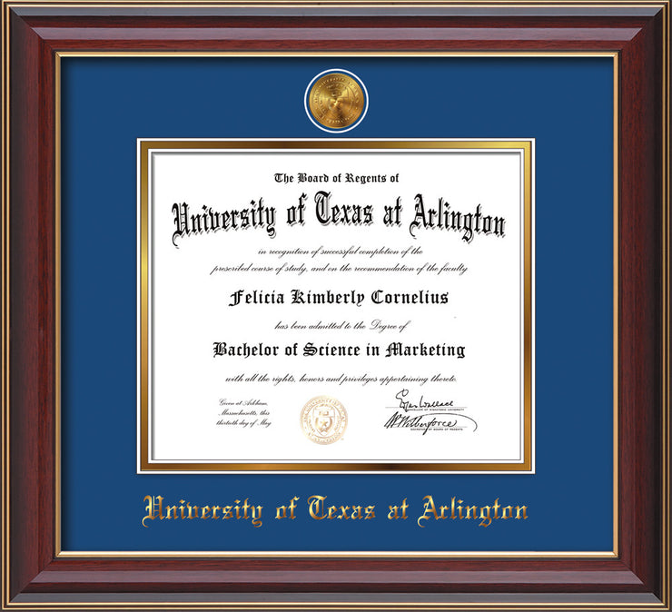Image of University of Texas - Arlington Diploma Frame - Cherry Lacquer - w/24k Gold-Plated Medallion UTA Name Embossing - Royal Blue on Gold mats
