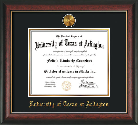 Image of University of Texas - Arlington Diploma Frame - Rosewood w/Gold Lip - w/24k Gold-Plated Medallion UTA Name Embossing - Black on Gold mats