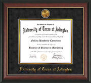 Image of University of Texas - Arlington Diploma Frame - Rosewood w/Gold Lip - w/24k Gold-Plated Medallion UTA Name Embossing - Black Suede on Gold mats