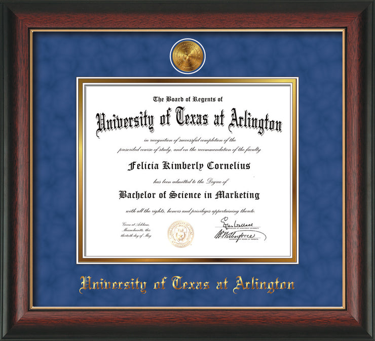 Image of University of Texas - Arlington Diploma Frame - Rosewood w/Gold Lip - w/24k Gold-Plated Medallion UTA Name Embossing - Royal Blue Suede on Gold mats