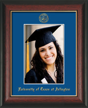 Image of University of Texas - Arlington 5 x 7 Photo Frame - Rosewood w/Gold Lip - w/Official Embossing of UTA Seal & Name - Single Royal Blue mat