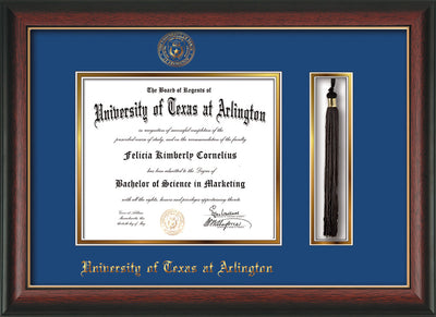 Image of University of Texas - Arlington Diploma Frame - Rosewood w/Gold Lip - w/Embossed Seal & Name - Tassel Holder - Royal Blue on Gold mat