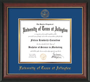 Image of University of Texas - Arlington Diploma Frame - Rosewood w/Gold Lip - w/Embossed Seal & Name - Royal Blue on Gold mat
