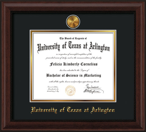 Image of University of Texas - Arlington Diploma Frame - Mahogany Bead - w/24k Gold-Plated Medallion UTA Name Embossing - Black on Gold mats