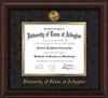 Image of University of Texas - Arlington Diploma Frame - Mahogany Bead - w/24k Gold-Plated Medallion UTA Name Embossing - Black Suede on Gold mats