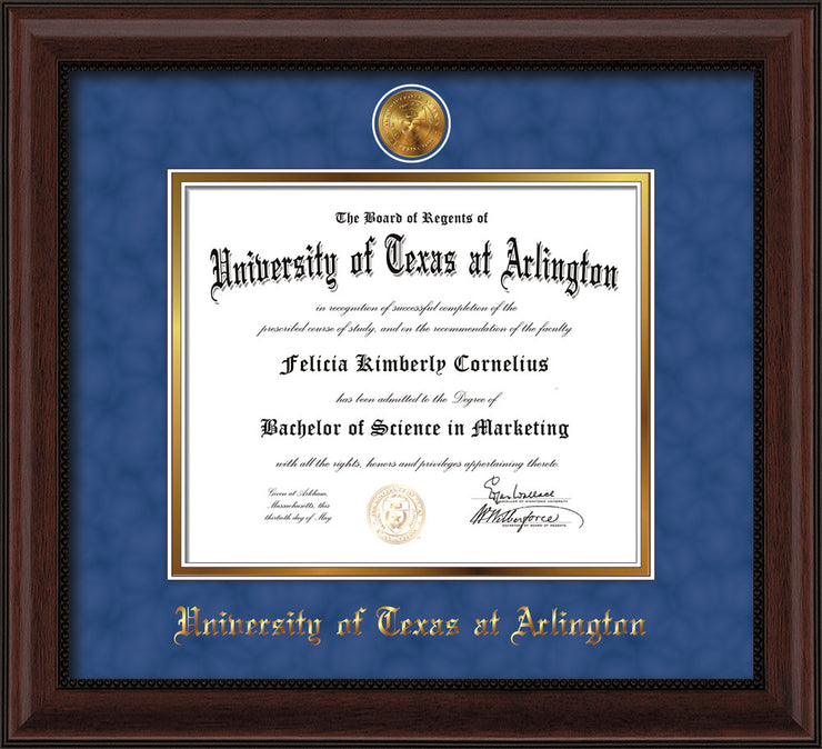 Image of University of Texas - Arlington Diploma Frame - Mahogany Bead - w/24k Gold-Plated Medallion UTA Name Embossing - Royal Blue Suede on Gold mats