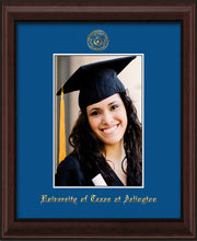 Image of University of Texas - Arlington 5 x 7 Photo Frame - Mahogany Bead - w/Official Embossing of UTA Seal & Name - Single Royal Blue mat