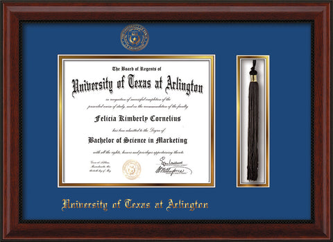 Image of University of Texas - Arlington Diploma Frame - Mahogany Bead - w/Embossed Seal & Name - Tassel Holder - Royal Blue on Gold mat