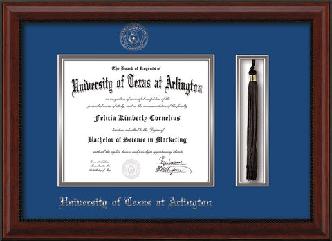 Image of University of Texas - Arlington Diploma Frame - Mahogany Bead - w/Silver Embossed Seal & Name - Tassel Holder - Royal Blue on Silver mat