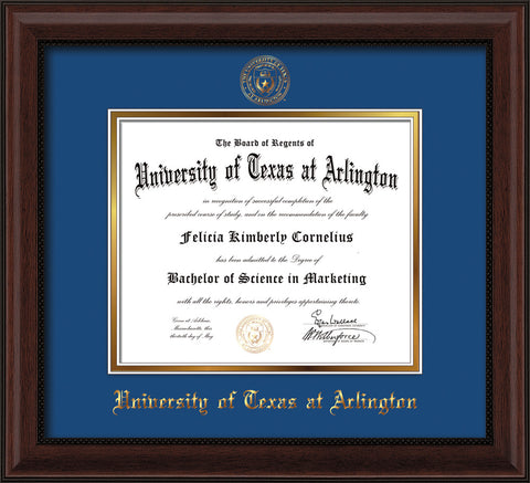 Image of University of Texas - Arlington Diploma Frame - Mahogany Bead - w/Embossed Seal & Name - Royal Blue on Gold mat