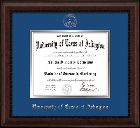 Image of University of Texas - Arlington Diploma Frame - Mahogany Bead - w/Silver Embossed Seal & Name - Royal Blue on Silver mat