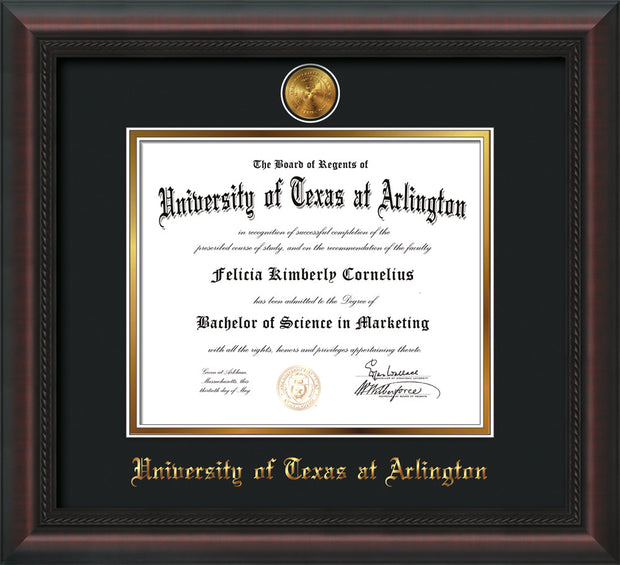 Image of University of Texas - Arlington Diploma Frame - Mahogany Braid - w/24k Gold-Plated Medallion UTA Name Embossing - Black on Gold mats