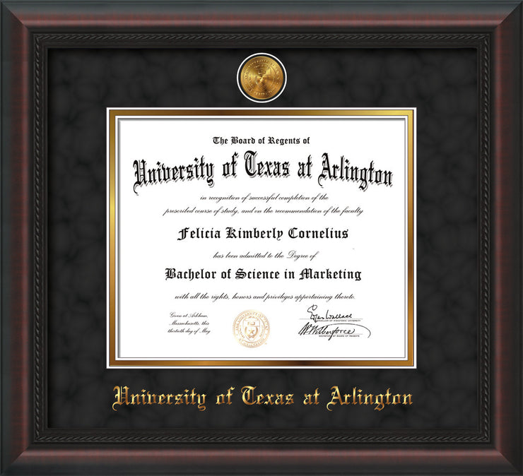 Image of University of Texas - Arlington Diploma Frame - Mahogany Braid - w/24k Gold-Plated Medallion UTA Name Embossing - Black Suede on Gold mats