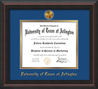 Image of University of Texas - Arlington Diploma Frame - Mahogany Braid - w/24k Gold-Plated Medallion UTA Name Embossing - Royal Blue on Gold mats
