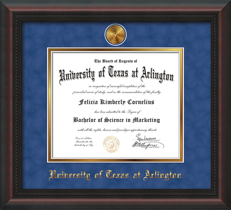 Image of University of Texas - Arlington Diploma Frame - Mahogany Braid - w/24k Gold-Plated Medallion UTA Name Embossing - Royal Blue Suede on Gold mats