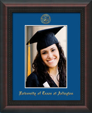 Image of University of Texas - Arlington 5 x 7 Photo Frame - Mahogany Braid - w/Official Embossing of UTA Seal & Name - Single Royal Blue mat
