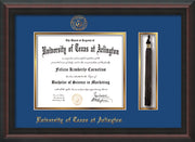 Image of University of Texas - Arlington Diploma Frame - Mahogany Braid - w/Embossed Seal & Name - Tassel Holder - Royal Blue on Gold mat