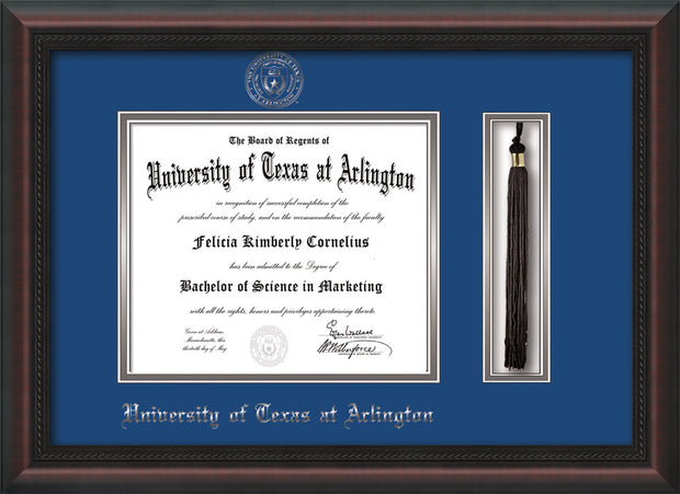 Image of University of Texas - Arlington Diploma Frame - Mahogany Braid - w/Silver Embossed Seal & Name - Tassel Holder - Royal Blue on Silver mat