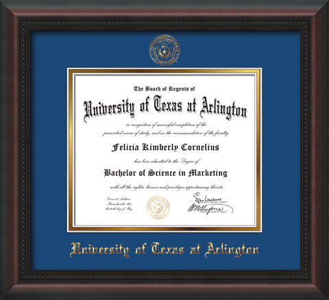 Image of University of Texas - Arlington Diploma Frame - Mahogany Braid - w/Embossed Seal & Name - Royal Blue on Gold mat