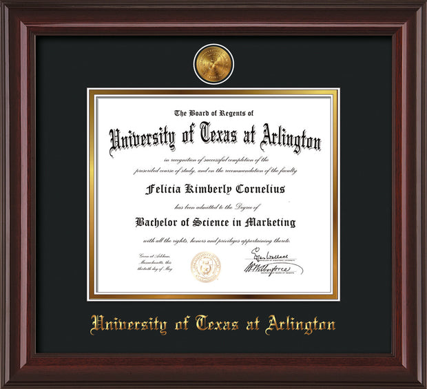 Image of University of Texas - Arlington Diploma Frame - Mahogany Lacquer - w/24k Gold-Plated Medallion UTA Name Embossing - Black on Gold mats