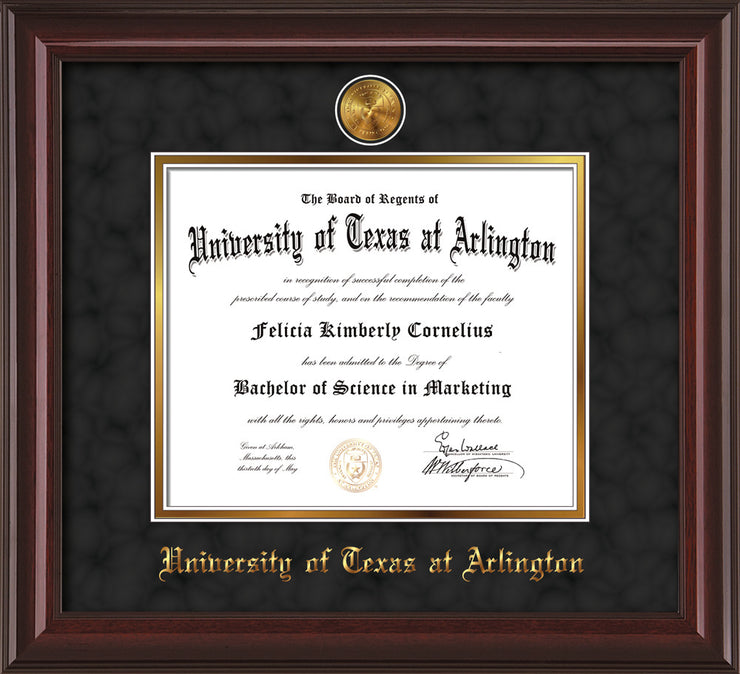Image of University of Texas - Arlington Diploma Frame - Mahogany Lacquer - w/24k Gold-Plated Medallion UTA Name Embossing - Black Suede on Gold mats