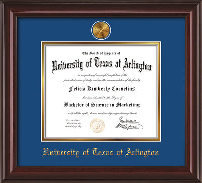 Image of University of Texas - Arlington Diploma Frame - Mahogany Lacquer - w/24k Gold-Plated Medallion UTA Name Embossing - Royal Blue on Gold mats