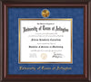 Image of University of Texas - Arlington Diploma Frame - Mahogany Lacquer - w/24k Gold-Plated Medallion UTA Name Embossing - Royal Blue Suede on Gold mats