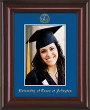 Image of University of Texas - Arlington 5 x 7 Photo Frame - Mahogany Lacquer - w/Official Embossing of UTA Seal & Name - Single Royal Blue mat