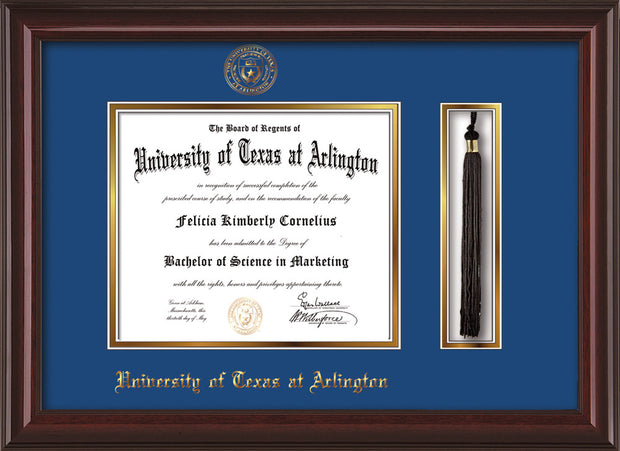 Image of University of Texas - Arlington Diploma Frame - Mahogany Lacquer - w/Embossed Seal & Name - Tassel Holder - Royal Blue on Gold mat