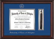 Image of University of Texas - Arlington Diploma Frame - Mahogany Lacquer - w/Silver Embossed Seal & Name - Tassel Holder - Royal Blue on Silver mat