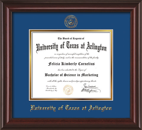 Image of University of Texas - Arlington Diploma Frame - Mahogany Lacquer - w/Embossed Seal & Name - Royal Blue on Gold mat