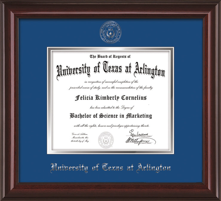 Image of University of Texas - Arlington Diploma Frame - Mahogany Lacquer - w/Silver Embossed Seal & Name - Royal Blue on Silver mat