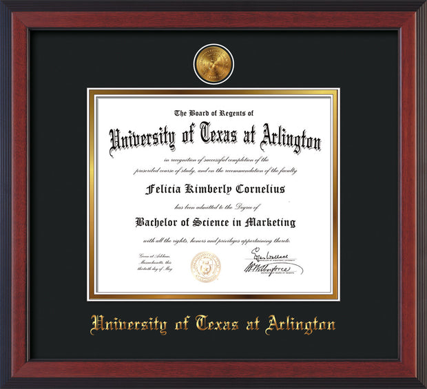 Image of University of Texas - Arlington Diploma Frame - Cherry Reverse - w/24k Gold-Plated Medallion UTA Name Embossing - Black on Gold mats