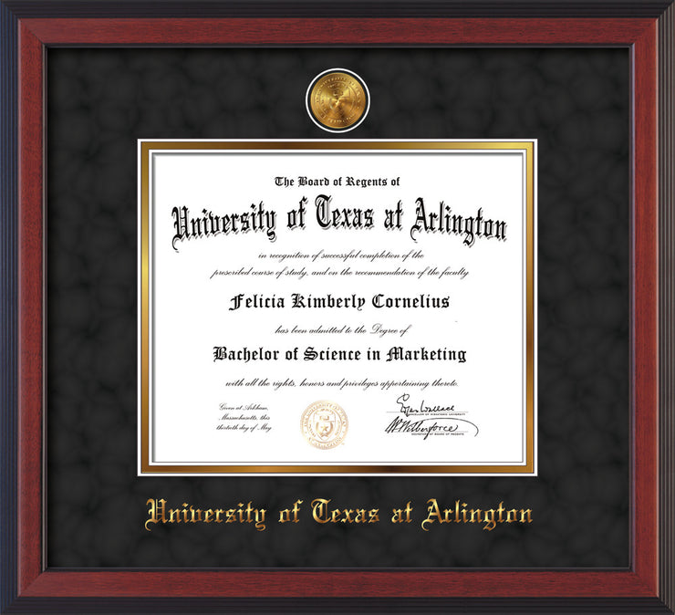 Image of University of Texas - Arlington Diploma Frame - Cherry Reverse - w/24k Gold-Plated Medallion UTA Name Embossing - Black Suede on Gold mats