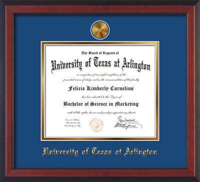 Image of University of Texas - Arlington Diploma Frame - Cherry Reverse - w/24k Gold-Plated Medallion UTA Name Embossing - Royal Blue on Gold mats