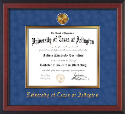 Image of University of Texas - Arlington Diploma Frame - Cherry Reverse - w/24k Gold-Plated Medallion UTA Name Embossing - Royal Blue Suede on Gold mats