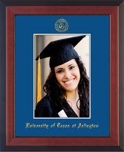 Image of University of Texas - Arlington 5 x 7 Photo Frame - Cherry Reverse - w/Official Embossing of UTA Seal & Name - Single Royal Blue mat