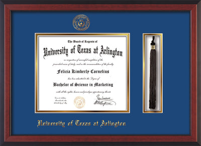 Image of University of Texas - Arlington Diploma Frame - Cherry Reverse - w/Embossed Seal & Name - Tassel Holder - Royal Blue on Gold mat