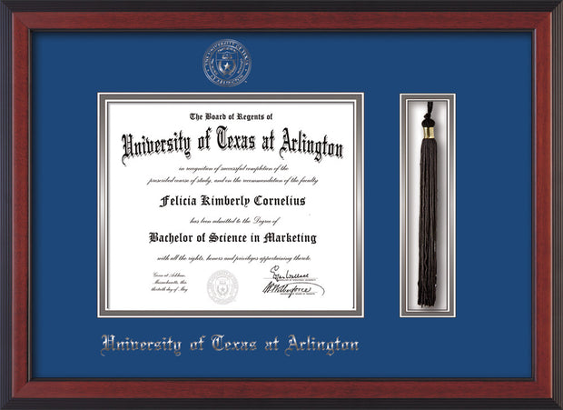 Image of University of Texas - Arlington Diploma Frame - Cherry Reverse - w/Silver Embossed Seal & Name - Tassel Holder - Royal Blue on Silver mat