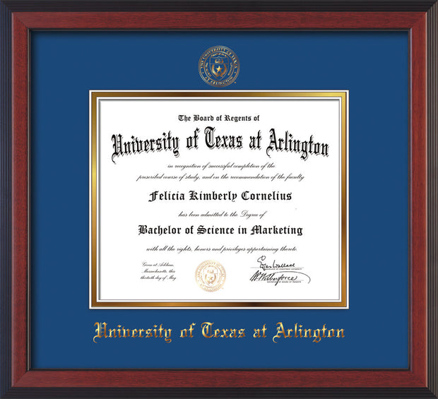 Image of University of Texas - Arlington Diploma Frame - Cherry Reverse - w/Embossed Seal & Name - Royal Blue on Gold mat