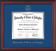Image of University of Texas - Arlington Diploma Frame - Cherry Reverse - w/Silver Embossed Seal & Name - Royal Blue on Silver mat