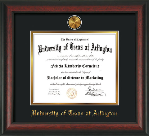 Image of University of Texas - Arlington Diploma Frame - Rosewood - w/24k Gold-Plated Medallion UTA Name Embossing - Black on Gold mats